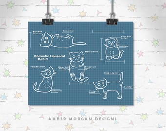 Blueprint Cat Art, Funny Cats, Children's Decor, Kids Room, Cute Art, Kitty art, Decor, Art Print, Giclee Print, Archival Print, Engineer
