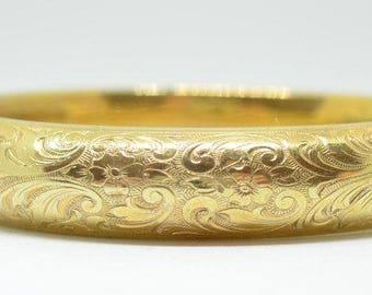 Vintage Floral Engraved 14k Rolled Gold Hinged Bangle Bracelet