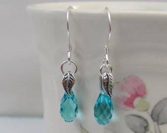 On Sale Turquoise Crystal Earrings in Sterling Silver, Swarovski Crystal, Briolette Earrings, December Birthstone Jewelry, Turquoise Earring