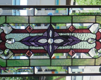 """Stained Glass Window Hanging  34 X 13"""""""