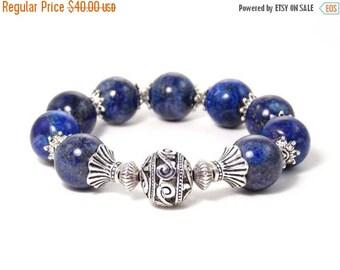 SUMMER SALE 20% OFF: Lapis Lazuli, Antique Silver Plated Beaded Gemstone Stretch Bracelet // Cobalt Blue Bracelet // Royal Blue Jewelry