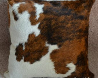 Tricolor Cowhide Pillow Cover Hide Cushions Skin Leather