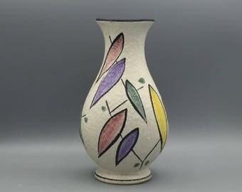 Schlossberg , decor: Wien ,  rare stylish Vintage  Vase 1950s  handdecorated West Germany Pottery . WGP