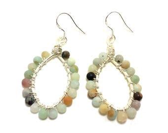 Amazonite Earrings, Sterling Silver Earrings, Gemstone Earrings, Hoop Earrings, Beaded Earrings, Gemstone Jewelry