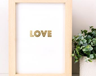 Gold Foiled Love Print; Wedding Gift; Anniversary Gift; Gifts Under 10; Love Gift; Cheap Wedding Gift; SMP034