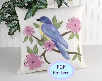 Bird in Spring Applique Pattern, PDF Pillow Pattern, Instant Download Dogwood Bloom Apple Tree Spring Blossoms Bluebird Raw Edge