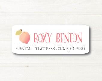 Just Peachy, Return Address Label, Personalized, MATTE, Fruit, Festive