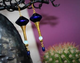Earrings ethnic cone and night blue bicone bead Moon