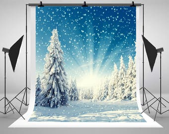 Sunlight Snowfall Winter Landscapes Photography Backdrops Newborn Baby Photo Backgrounds for Children Christmas Studio Props