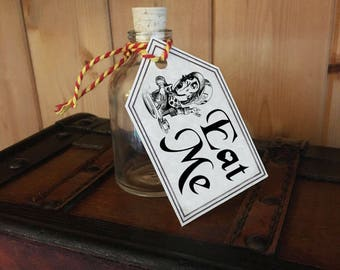 Alice in Wonderland, Eat Me, Wedding Party/Table Bottle Tags