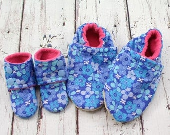 blue butterfly doll and me slippers - toddler slippers - Easter gifts for girls -birthday gift - doll and girl matching shoes -doll shoes