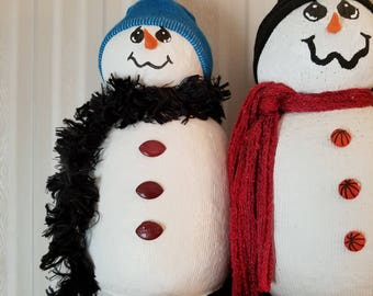 Snowman with blue hat and black scarf