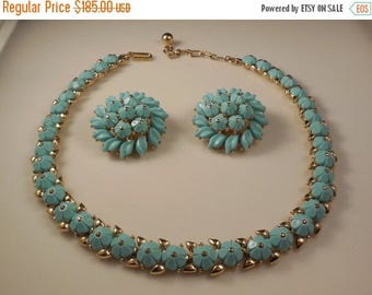 20% OFF SALE Vintage 1950s Crown Trifari Floral Summer Turquoise Thermoset Trifanium Forget Me Not Necklace Clip Earrings Demi Parure