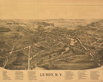 Map of Le Roy, New York 1892. Print/Poster (4862)