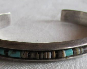 Sterling Silver Cuff Bracelet with Heishi Center