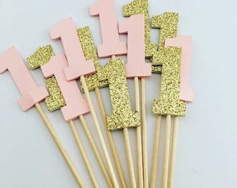 Pink And Gold First Birthday Cake Toppers 1 Cake Topper Pink And Gold Number One Cupcake Toppers Pink And Gold First Birthday Ideas Girl
