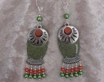 khaki ethnic earrings khaki coral wood resin and metal