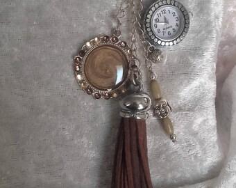 key watch/jewelry bag with harmony silver Brown watch