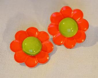 Vintage Flower Earrings - 1960s or 1970s, Orange and Green, Enamel over Metal, Clip Earrings
