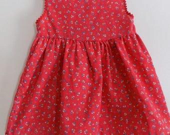 70s Red Dress, Jumper, Rick Rack, Doris Brosk, Fun Frills, Lord and Taylor, Kids Shop, Red, Floral, Size 4T, Sleeveless, Kids Vintage, 1970s