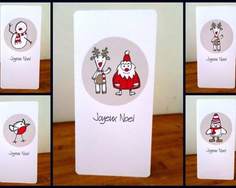 Set of 5 Christmas merry Christmas 21 cm x 10 with envelopes