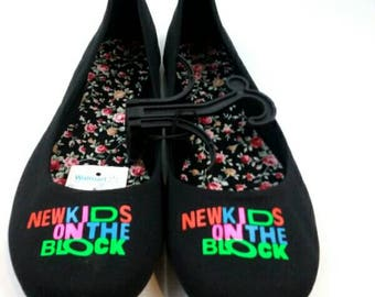 NKOTB New Kids On The Block black flats women's  custom shoes retro 90's various sizes