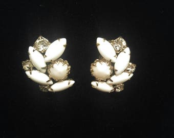 Vintage Clip On Cluster Earrings in White, Rhinestone and Faux Pearl