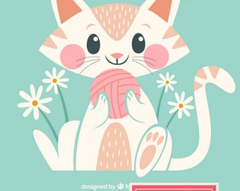 YARN + KITTY: Personalized Monthly or Weekly Planner/Agenda/Organizer with Custom Dates OR Create + Color Journal/Notebook with Custom Pages