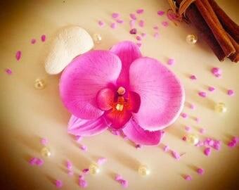 fuchsia pink Orchid hair clip