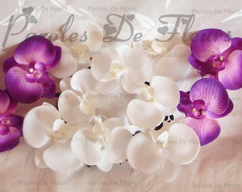 Purple and white orchids centerpiece like to customize