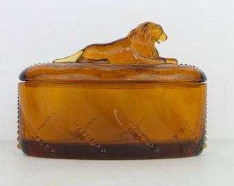 Art Deco Lion Handle Jar Amber glass