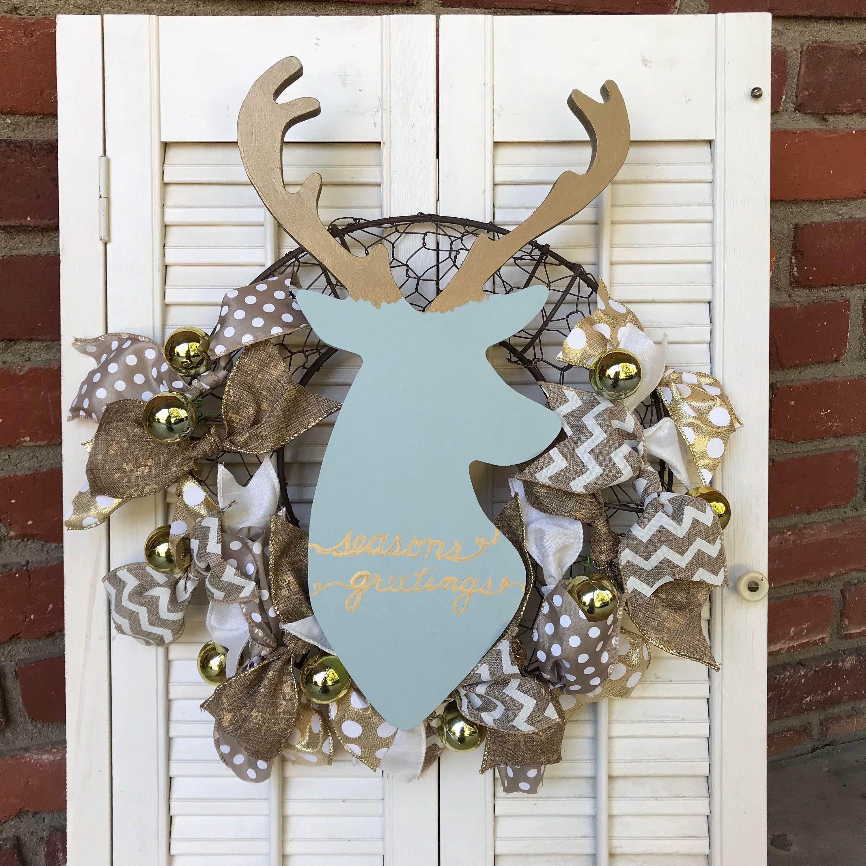 Christmas Farmhouse Wreath Christmas Deer Wreath Blue Gold Christmas ...