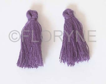 Set of 2 tassels made of wire purple 8 mm X 25Mm for Creations