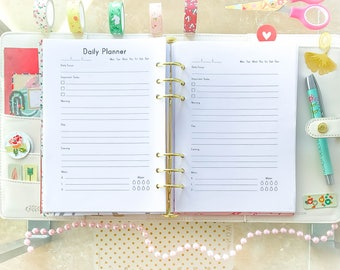 Half Size Planner Pages DAILY PLANNER Printable Half Letter Size PDF 5.5 X 8.5 Inserts To Do list. Daily agenda. Instant Download.