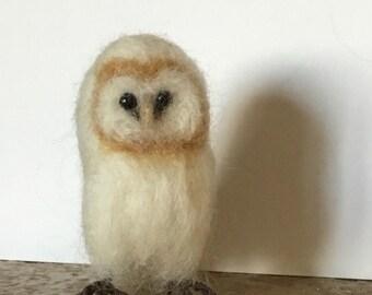 barn owl, needle felted bird soft sculpture