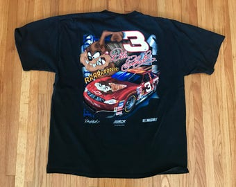 Vintage 90s Dale Earnhardt Taz #3 Nascar Racing Black T Shirt. Size XL