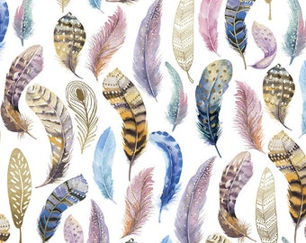 """Feather Tissue Paper # 369 ... 10 large sheets - 20"""" x 30"""" .... Bird Feathers ....Decoupage"""