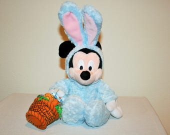 """Disney Easter Bunny Mickey Mouse, Baby Blue Fluffy Mickey Dressed As A Bunny. 9"""" Tall and SOOO Soft! Carrying a Easter Basket With Eggs."""