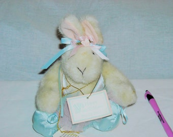 Hoppy the Bunny from the North American Bear Collection Dressed as a Ballerina. Pink and Blue Tutu, Ribbons, Blue Ballet Slippers!