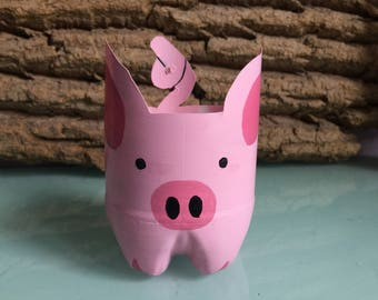 Little Piggy Planter Hand-painted (upcycled from plastic bottle)