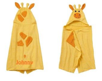 Giraffe Hooded Towel Bath Wrap Toddler Beach Towel - Personalized