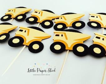 Handmade Cupcake Toppers - Dump Truck Construction Theme x 12