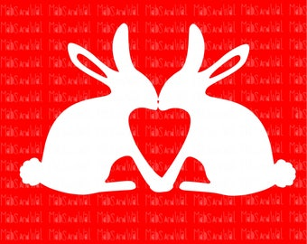 Rabbits kissing svg/png/dxf Silhouette/Cricut cutting file/rabbit svg/kiss svg/valentine svg/bunny love svg/bunny svg/love svg/vinyl/HTV