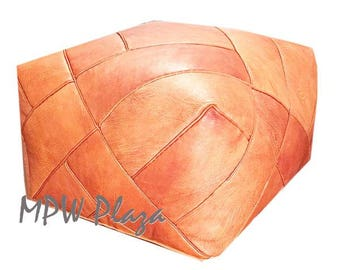 NEW COLLECTION-  ZIGZAG Moroccan Leather Pouf