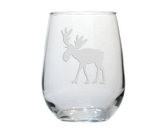 Whimsical Moose Wine Glass / #3 / Personalized Etched Stemless Wine Glass / Free Personalization / Engraved Moose Glass / Personalized Gift