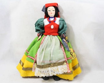 Hand Painted Doll - 1940s 1950s Italian Folk Lady in Colorful Felt with Guitar - Black Hair - Handmade in Italy Europe - 49203