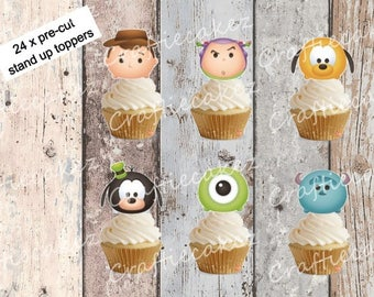 24 x Edible Pre Cut Boys Tsum Tsum Stand Up Cupcake Toppers