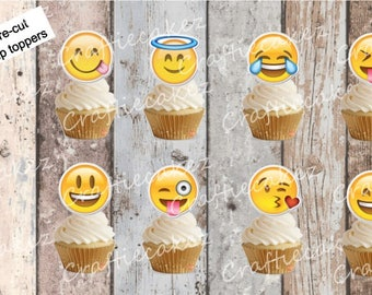24 x Edible Pre Cut Emoji Stand Up Cupcake Toppers