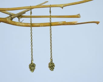 Long Pine Cone Earrings