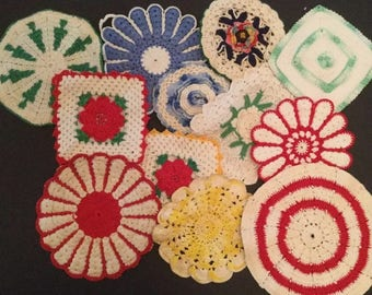 Lot of 12 Vintage Colored Crochet Potholders - C12